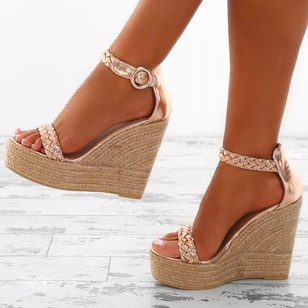 Buckle Braided Strap Ankle Strap Sandals PU Wedge Heel Shoes