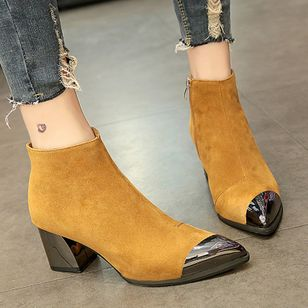 Zipper Split Joint Pointed Toe Chunky Heel Shoes