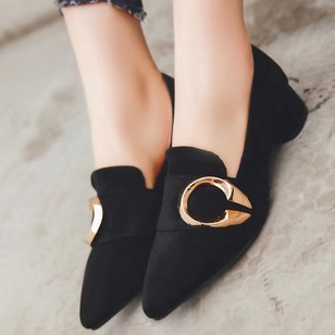 Others Pointed Toe Nubuck Chunky Heel Shoes