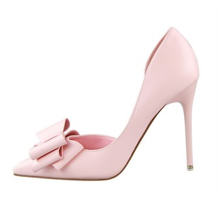Bowknot Closed Toe Heels Leatherette Stiletto Heel Shoes