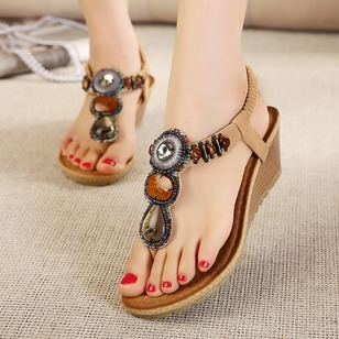 Beading T-Strap Slingbacks PU Wedge Heel Shoes