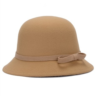 Casual Wool Bow Solid Hats