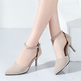 Pearl Buckle Chain Ankle Strap Heels Nubuck Stiletto Heel Shoes