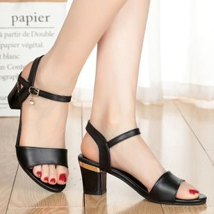 Women's Ankle Strap Peep Toe Low Heel Sandals (1511093)