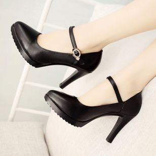 Crystal Buckle Pointed Toe Stiletto Heel Shoes