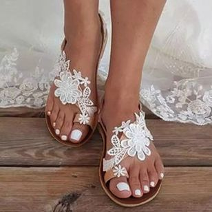 Women's Flower Slingbacks Toe Ring Flat Heel Sandals (4044789)