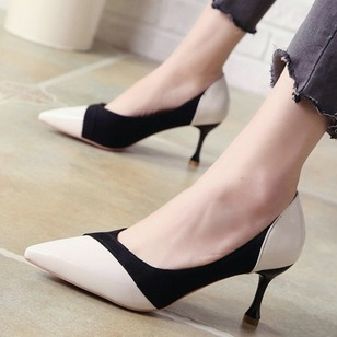 Split Joint Pointed Toe PU Spool Heel Shoes