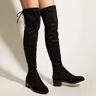 Women's Lace-up Over The Knee Boots Closed Toe Nubuck Chunky Heel Boots (107561451)