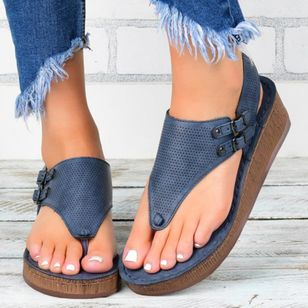 Women's Buckle Hollow-out Flip-Flops Wedge Heel Sandals Platforms (1527625)