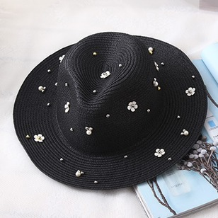 Vintage Straw Beading Flowers Solid Hats