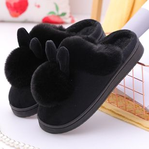 Women's Closed Toe Cotton Flat Heel Slippers (146774980)