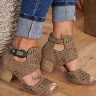 Slipper Wanita Heels Tumit Tebal Gesper Ritsleting Hollow-out (1519640)