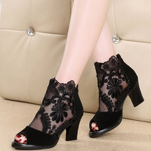 Peep Toe PU Chunky Heel Shoes