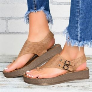 Women's Buckle Flip-Flops Cloth Wedge Heel Sandals Platforms (1525924)