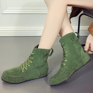 Lace-up Closed Toe Cloth Flat Heel Shoes