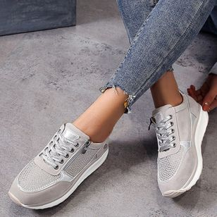 Women's Zipper Lace-up Flats Cloth Flat Heel Sneakers (1525228)