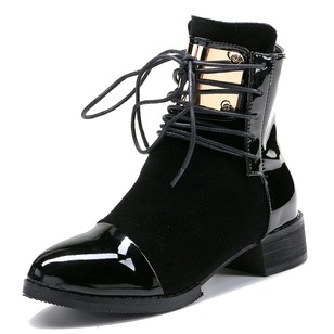 Lace-up Split Joint Ankle Boots Chunky Heel Shoes