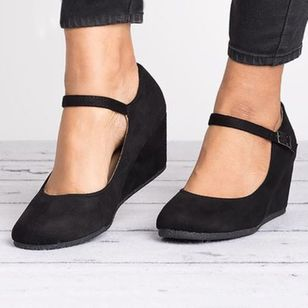 Women's Buckle Closed Toe Wedge Heel Pumps (146939320)