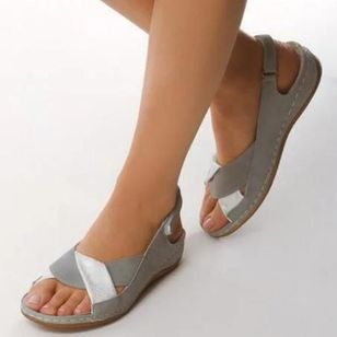 Women's Velcro Slingbacks Wedge Heel Sandals (4127940)