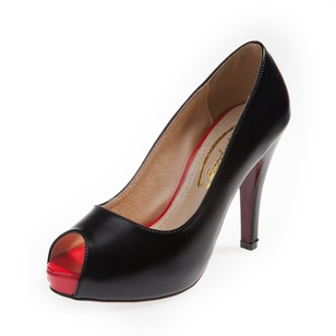 Peep Toe Heels Leatherette Stiletto Heel Shoes