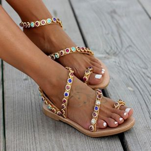 Women's Crystal Slingbacks Flat Heel Sandals (2201256)