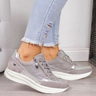 Women's Sequin Lace-up Closed Toe Flat Heel Sneakers (4040919)