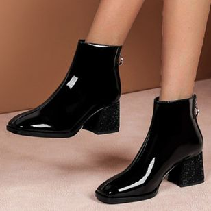 Women's Zipper Ankle Boots Patent Leather Chunky Heel Boots (146772134)