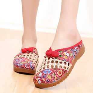 Hollow-out Slippers Fabric Flat Heel Shoes