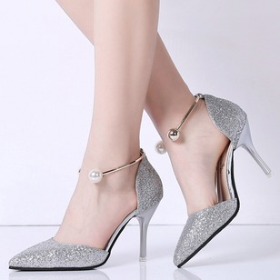 Beading Closed Toe Stiletto Heel Shoes