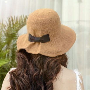 Cotton Blends Bow Hollow Out Solid Hats