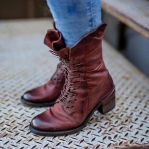 Women's Lace-up Ankle Boots Low Heel Boots (112236710)