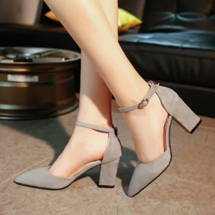 Buckle Ankle Strap Heels PU Chunky Heel Shoes