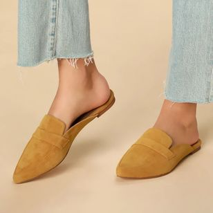 Women's Closed Toe Nubuck Flat Heel Pumps (4101558)