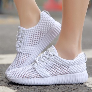 Lace-up Net Surface Sneakers Fabric Flat Heel Shoes