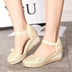 Button Closed Toe Cotton Wedge Heel Shoes