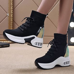 Women's Lace-up Closed Toe Nubuck Wedge Heel Sneakers (146740326)