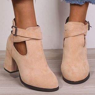 Women's Buckle Ankle Boots Closed Toe Nubuck Chunky Heel Boots (107519730)