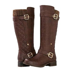 Women's Buckle Mid-Calf Boots Closed Toe Round Toe Low Heel Boots (106703163)
