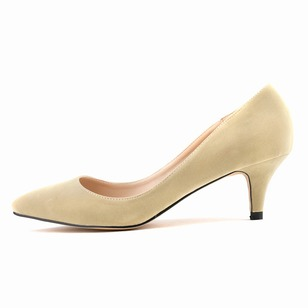 Women's Closed Toe Heels Suede Low Heel Pumps (1009211)