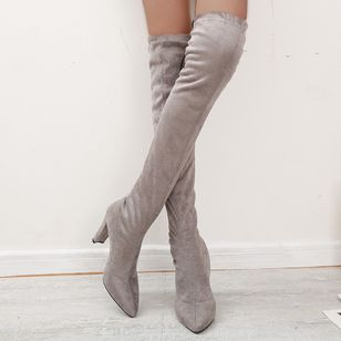 Women's Lace-up Over The Knee Boots Pointed Toe Heels Nubuck Chunky Heel Boots (111608148)