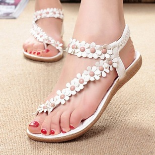 Applique Flats PU Flat Heel Shoes