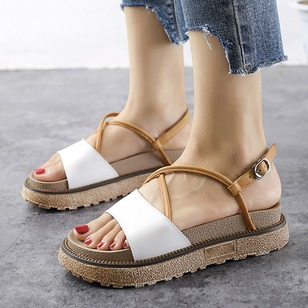 Buckle Sandals Leatherette Chunky Heel Shoes