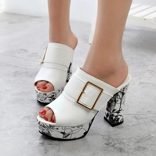 Buckle Flower Slippers PU Chunky Heel Shoes