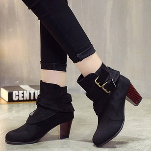 Buckle Ribbon Tie Split Joint High Top Chunky Heel Shoes