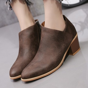 Zipper Ankle Boots PU Chunky Heel Shoes