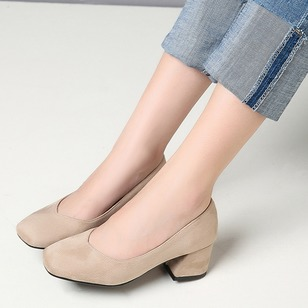Heels Suede Chunky Heel Shoes