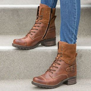 Women's Lace-up Ankle Boots Low Heel Boots (108088399)