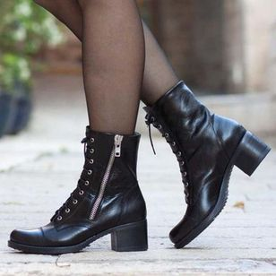 Women's Zipper Lace-up Ankle Boots Round Toe Heels Chunky Heel Boots (118207672)