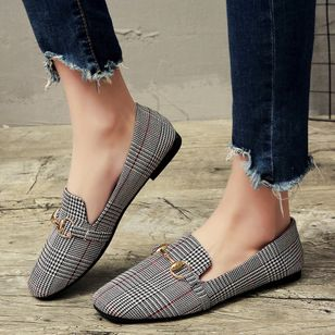 Plaid Tie Flats Flat Heel Shoes