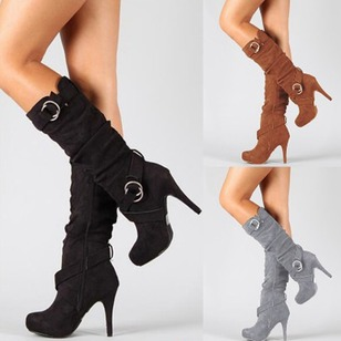 Grommet Mid-Calf Boots Stiletto Heel Shoes